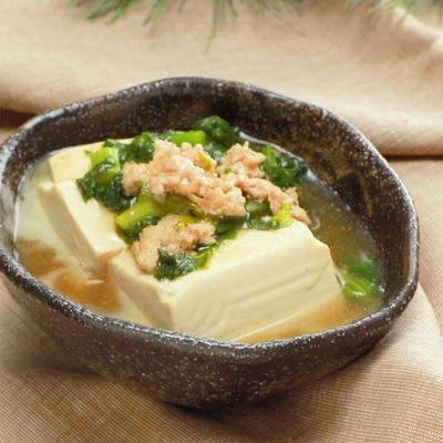 菜の花のそぼろあんかけ豆腐