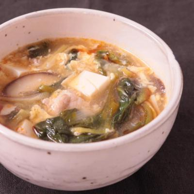 サラダ菜の酸辣湯スープ