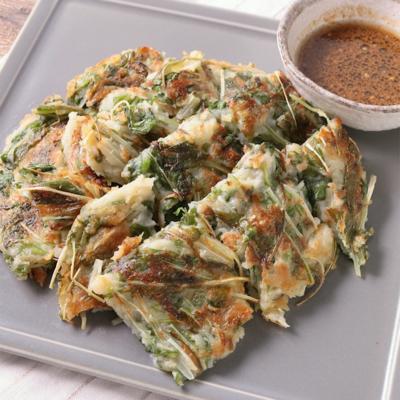 たっぷり水菜と長芋のチヂミ