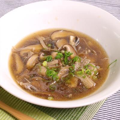 食べて満腹 きのこたっぷりほうじ茶スープ