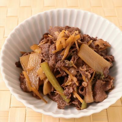 ウドと牛肉の生姜の効いたしぐれ煮