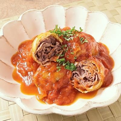 牛こま肉のトマトロールキャベツ