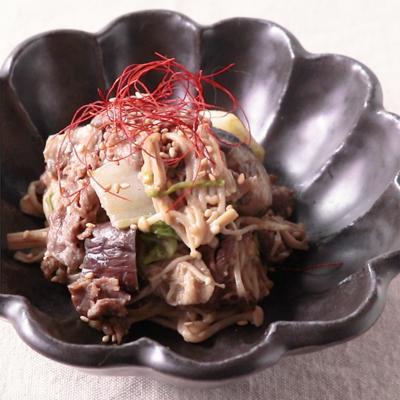 えのきと牛肉のごまマヨ炒め