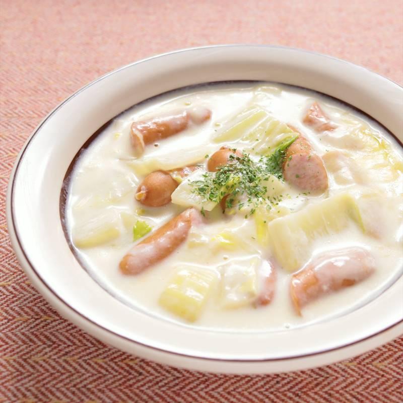チーズたっぷり白菜とウインナーのクリーム煮 作り方 レシピ クラシル