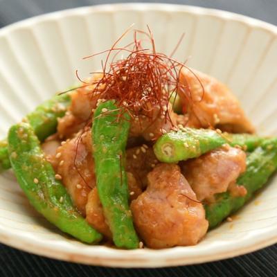 鶏もも肉とししとうのニンニク味噌炒め