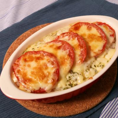 オーブントースターで簡単!輪切りトマトの焼きリゾット