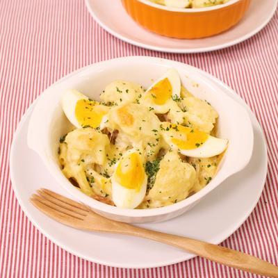 カリフラワーとゆで卵のグラタン
