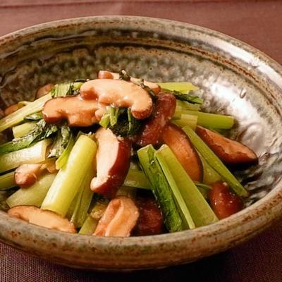 小松菜と椎茸の味噌バター炒め