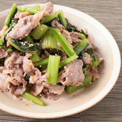 牛肉と野沢菜の和え物