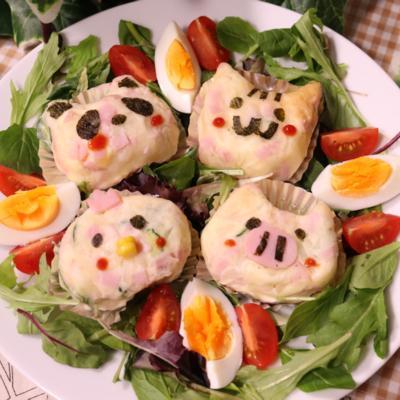 可愛すぎて食べられない!?アニマルポテトサラダ