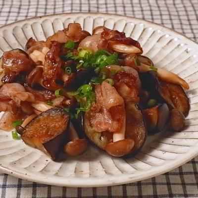 ポン酢で 豚肉とナスの炒め物