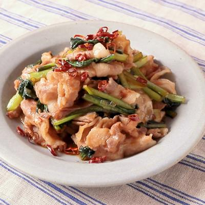 豚バラ肉と小松菜の香味だれ炒め