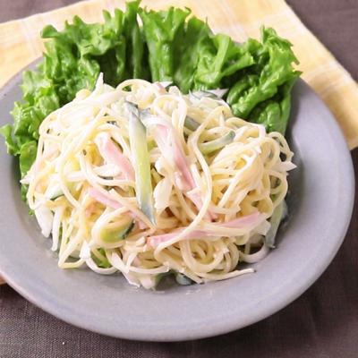 シンプル きゅうりとハムのスパゲティサラダ