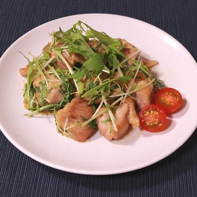 水菜と鶏もも肉のゆず茶炒め