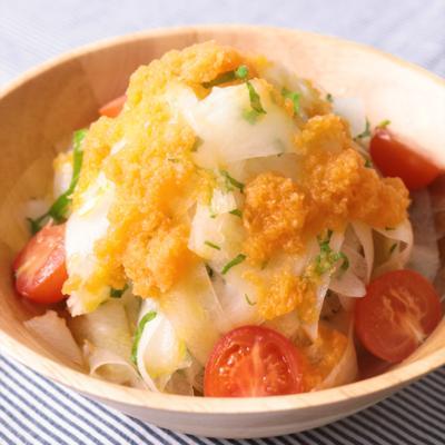 にんじんドレッシングが鮮やか 大根サラダ