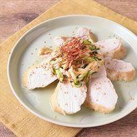 レンジで蒸し鶏 ピリ辛中華風 香味野菜ソースがけ