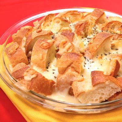 バゲットとナスのカレーオーブン焼き