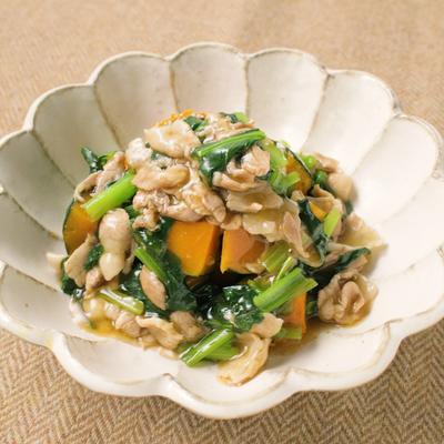 小松菜と豚バラのあんかけかぼちゃ