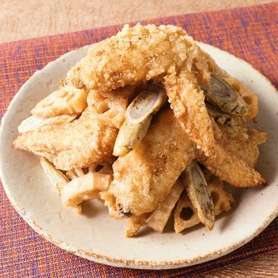 山椒香る 鶏手羽先と根菜の唐揚げ