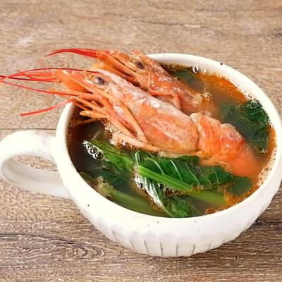 小松菜と有頭エビのコク旨スープ