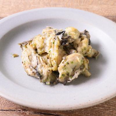 手作りガーリックバターの牡蠣炒め