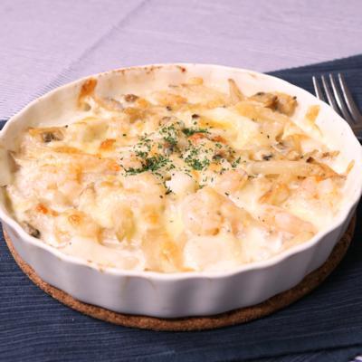 冷凍食材で簡単!シーフード&ポテトグラタン