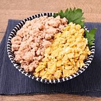 レンジでお手軽 鶏ひき肉そぼろと卵の二色丼