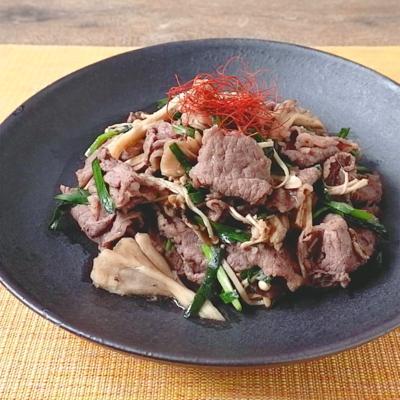 牛こま肉とニラのしょうゆ炒め