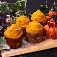 ハロウィンに!かぼちゃのカップケーキ