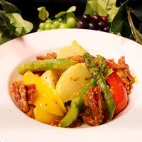レンジで簡単!彩り野菜とサラミのカレー炒め風