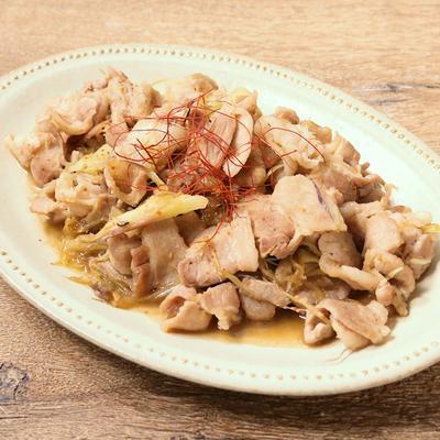 ミョウガと豚バラの炒め物