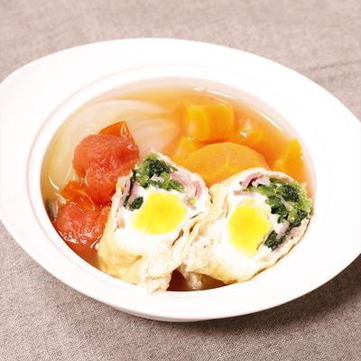 野菜もいっしょに!洋風卵きんちゃくスープ