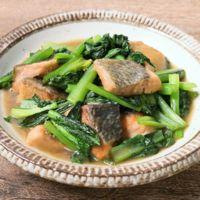 鮭と小松菜のバター焼き