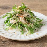 水菜と蒸し鶏の中華サラダ