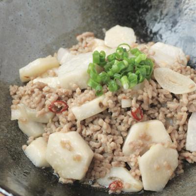 里芋と豚ひき肉のガーリック風味