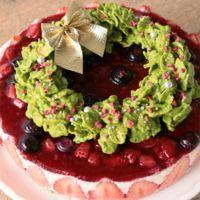 ベリーレアチーズのクリスマスリースケーキ
