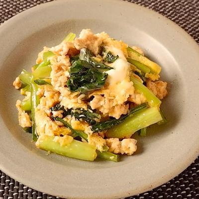小松菜と鶏ひき肉のオイスター卵とじ