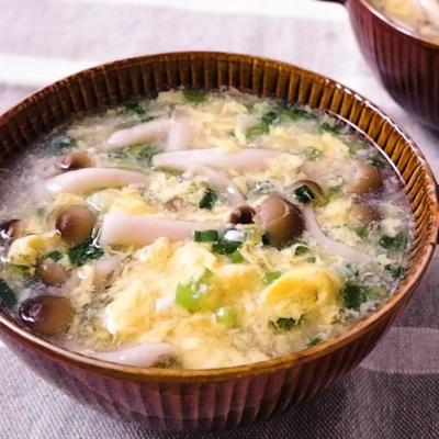 しめじと小ねぎのかき玉塩麹スープ