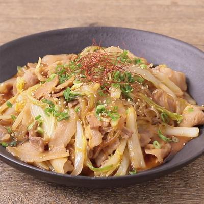 白菜と豚肉とはるさめのピリ辛炒め