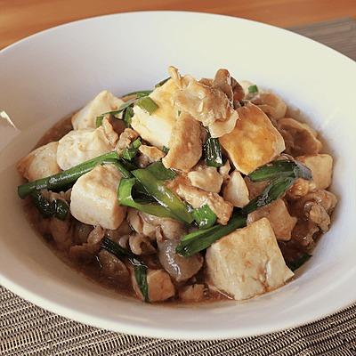 豚ニラ豆腐のオイスターソース炒め