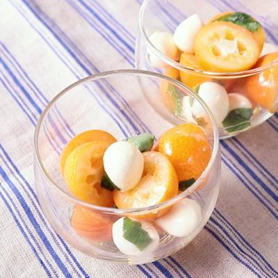 金柑とモッツァレラのバジル風味サラダ