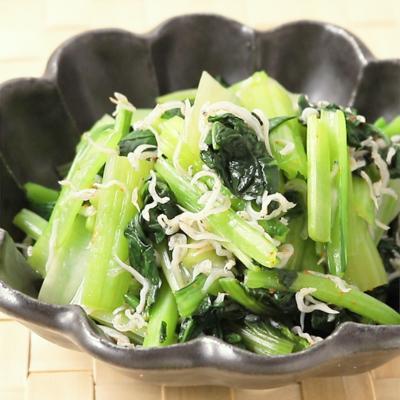 5分で作れるおつまみ 小松菜としらすのピリ辛和え