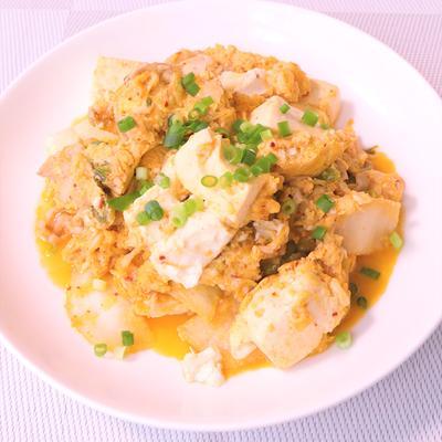 簡単美味しい キムチの卵とじ