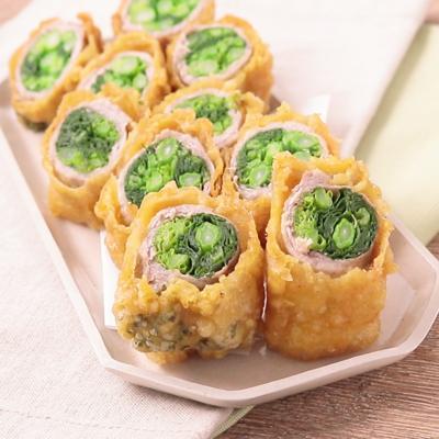カレー風味の菜の花の肉巻き天ぷら