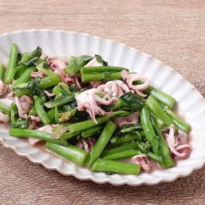 アスパラ菜とヤリイカの炒め物