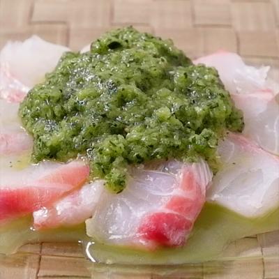 きゅうりソースで鯛のカルパッチョ