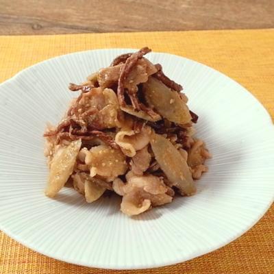 干しぜんまいとごぼうの豚バラ胡麻みそ炒め煮