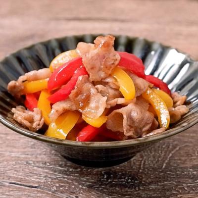 豚バラ肉とパプリカの塩きんぴら