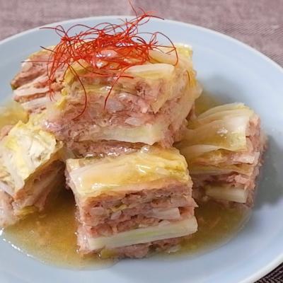白菜と豚ひき肉の中華風重ね煮