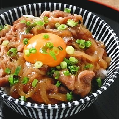 調味料3つ レンジで豚の照り焼き風丼